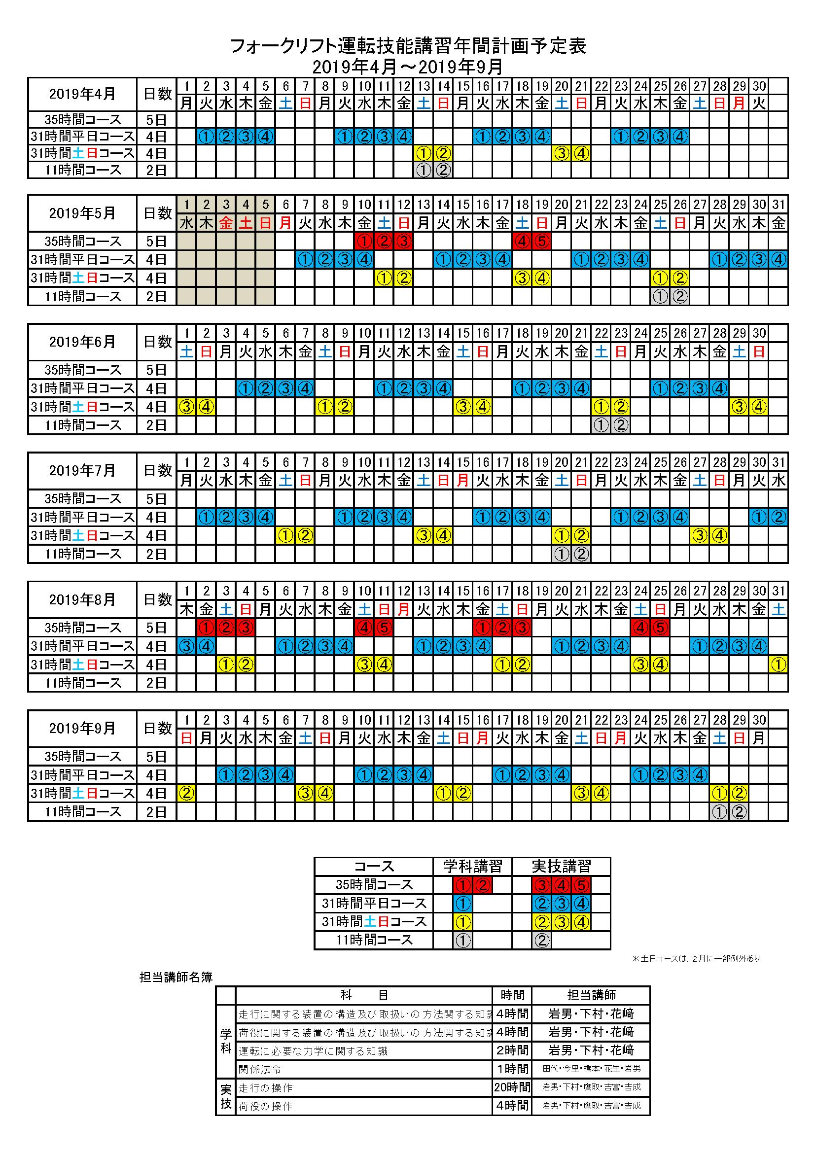 フォークリフト2019年04月〜2019年10月の講習日程